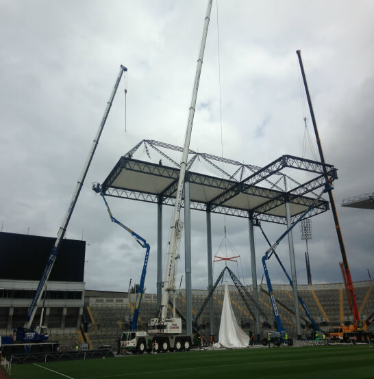 Mobile cranes at working on stage at Croke Park