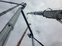 Mobile Crane erecting a stage in Croke Park Dublin.