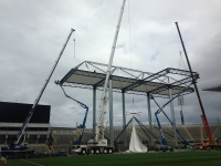 Mobile Cranes erecting the biggest stage ever erected in Croke Park.